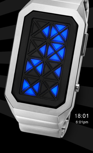 Adjust Silver Blue LED watch