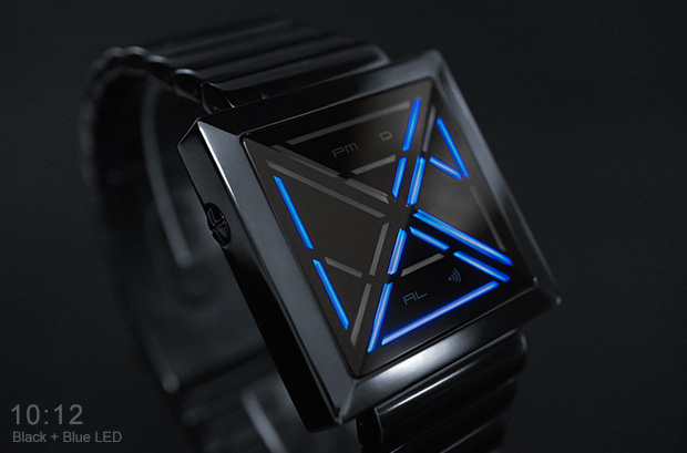 Kisai X black watch with blue LEDs