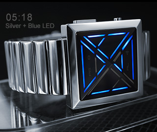 Silver watch with Blue LED