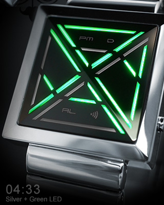 Kisai X Silver watch with Green LEDs