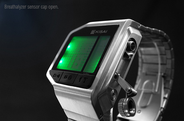 Breathalyser watch sensor open