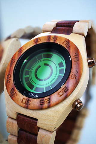 Kisai Rogue wood LCD watch