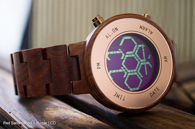 Red Sandalwood ZONE LCD watch