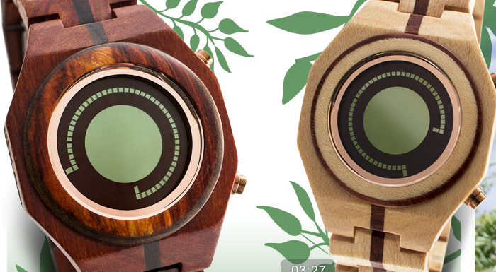 Kisai Maru LCD watch in Red Sandal Wood