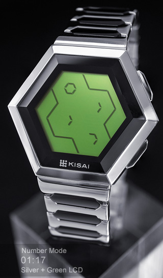 Quasar silver with green lcd watch
