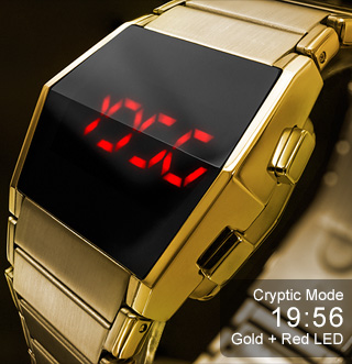 Gold watch with red LED
