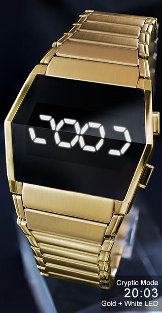 Gold watch with white LEDs