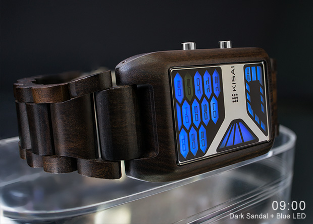 Dark Sandalwood watch with LED
