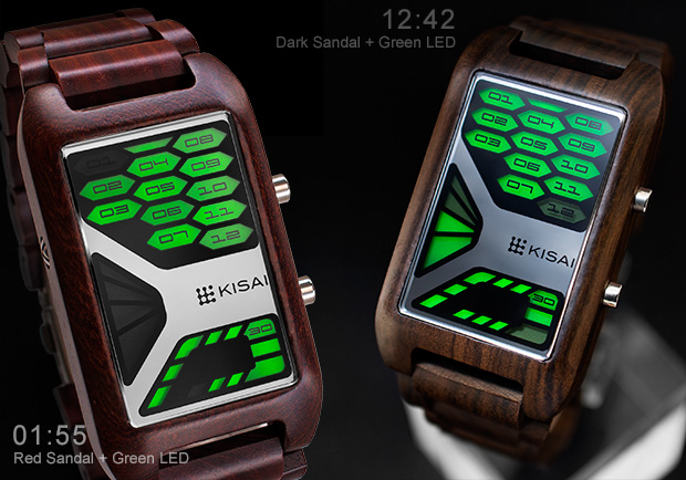 Console wrist watch in sandal wood