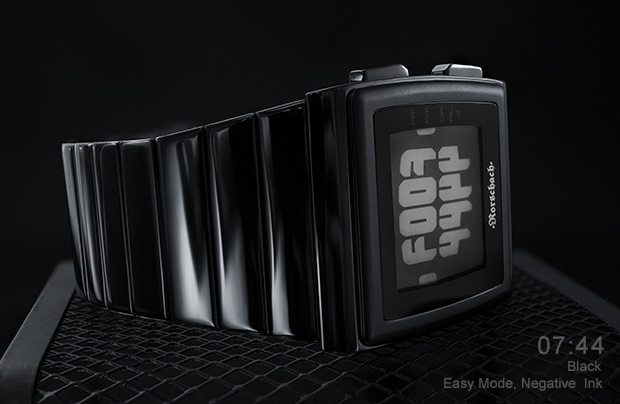 Glossy black metal watch with epaper screen