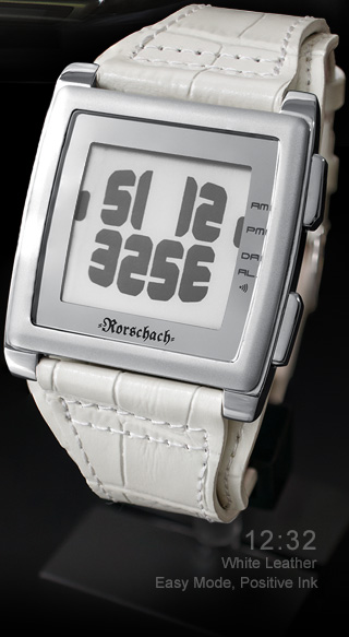 Rorschach ePaper white leather watch