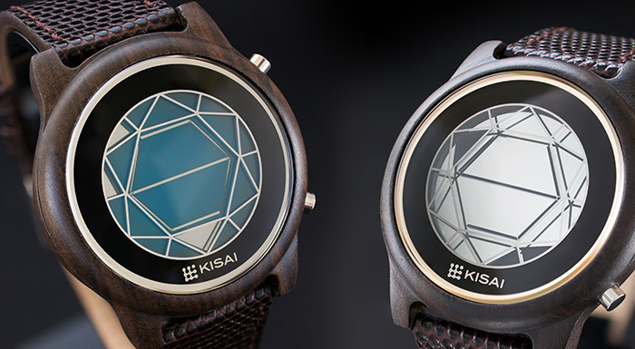 Kisai Polygon Wood LCD watch