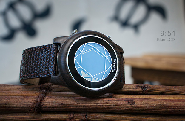 Polygon Blue LCD watch