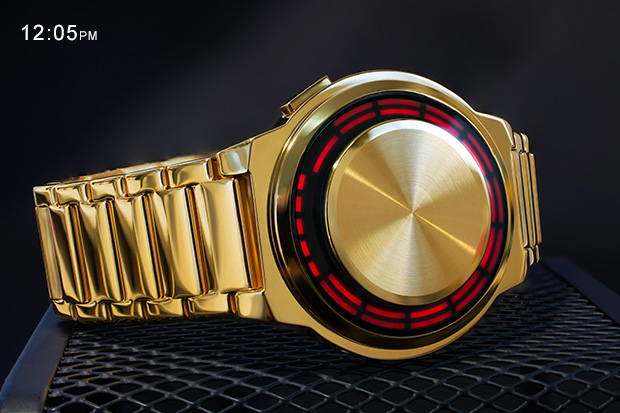 Kisai RPM Gold watch with RED led