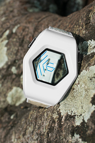 see-through Blue LCD watch