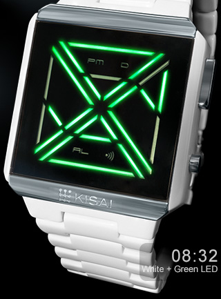 Kisai X Acetate green LED watch