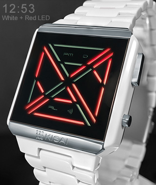 Kisai X Acetate red LED watch