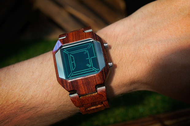 Space Digits wood on wrist