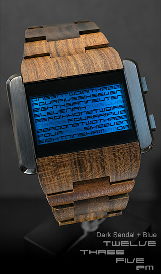 Dark Sandalwood watch with Blue LCD
