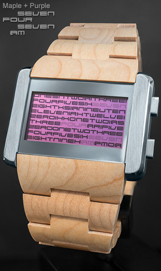 Maple wood watch Kaidoku purple LCD