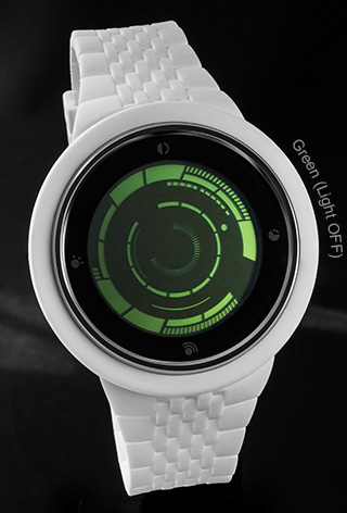 White Silicone with Green LCD watch