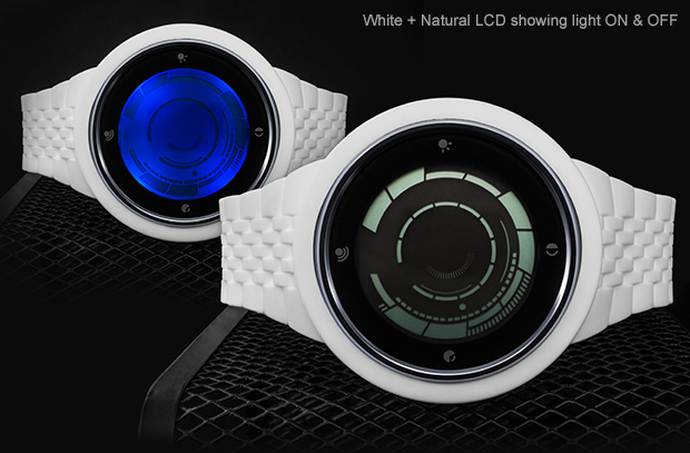 White silicone watch with natural LCD, pair