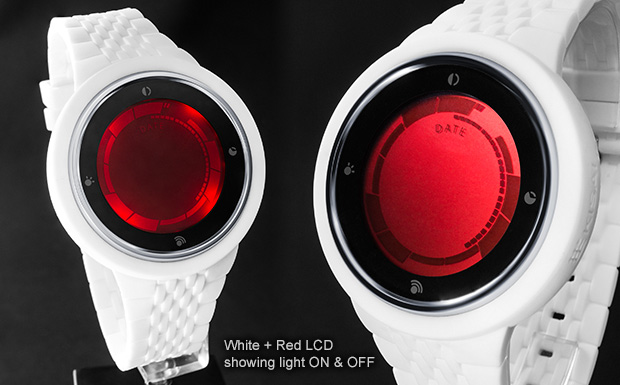 Bright RED LCD watch with silicone strap