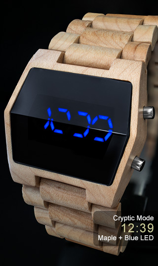 Xtal Maple with Blue LED watch