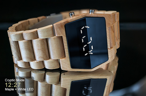 LED watch in Maple wood, Kisai Xtal