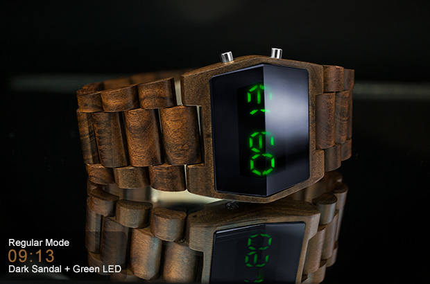 Sandalwood and green LED watch