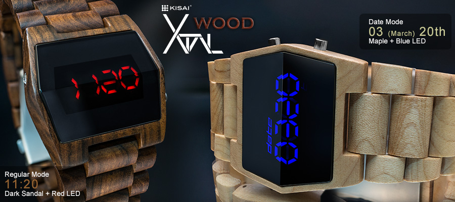 Xtal LED watch made with real wood