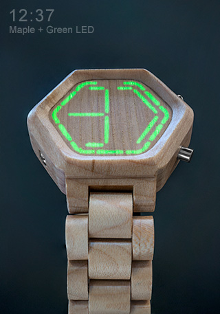 Maple wood and Green LED watch NightVision