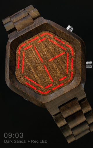 Sandalwood watch with RED LED