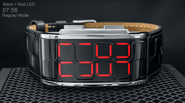 Black watch with bright red LED - Sequence