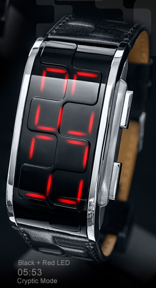 Black leather watch with RED led
