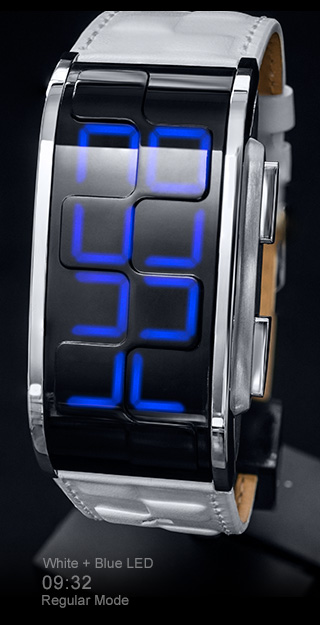 Kisai Sequence White leather watch with Blue LED