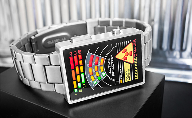 Radioactive stainless steel watch with LED