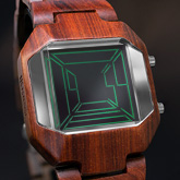 Space Digits Wood Lcd Watches