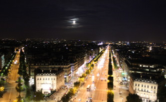 Night View of the city from Arc De Triomph
