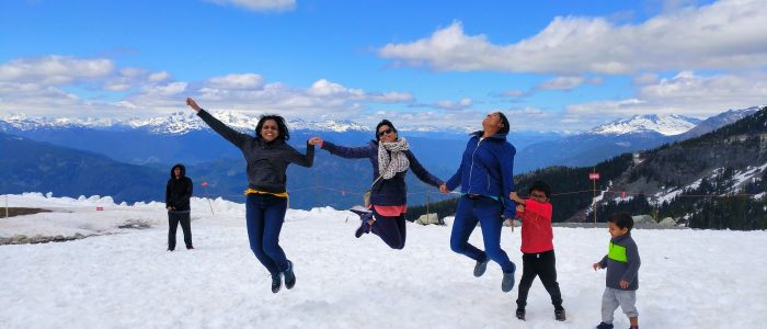 Jumping high on top of Whistler mountain :-)