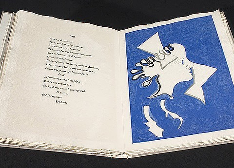 Georges Braque / Guillaume Apollinaire. Page spread from Si je mourais là-bas. Paris: Louis Broder Éditeur, 1971