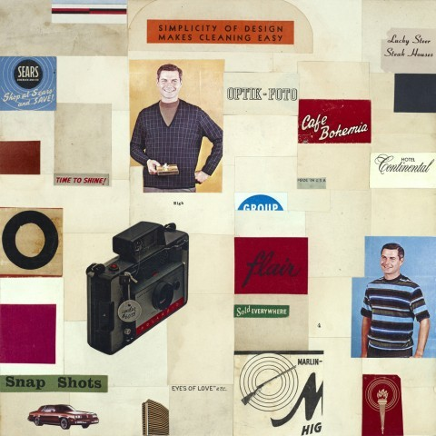 Snap Shots_vintage ephemera collage on panel_10 x 10