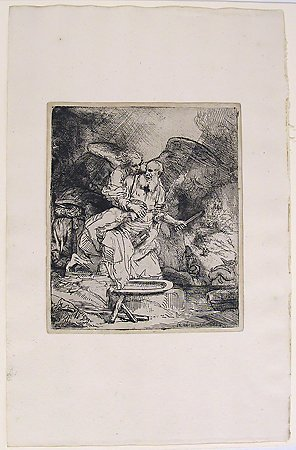Abraham's Sacrifice, Rembrandt van Rijn, 1655, Museum Purchase with funds provided by  the Edward J. Gallagher, Jr. Memorial Fund