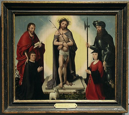 The Man of Sorrows with Saints and Donors, by an unknown French artist, c. 1525