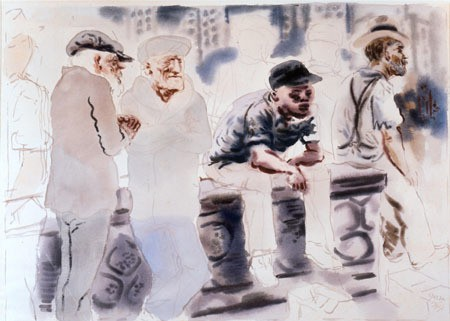 George Grosz, Waiting for a Job, 1934, watercolor