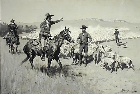 Frederic Remington, The Drought in the Southwest. Cattlemen Warning Sheep-Herders Away from Their Water, 1900, oil on canvas