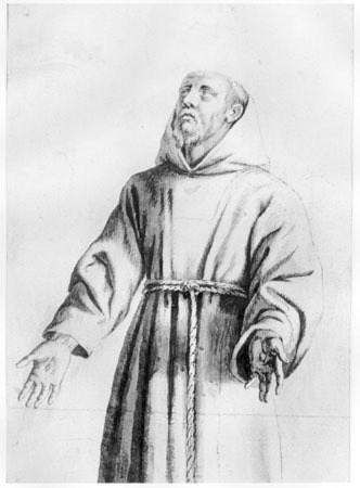 Guercino, St. Francis, c. 1650, Ink on laid paper