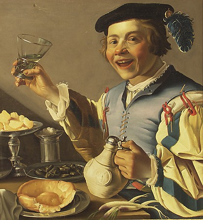 Christiaen van Couwenbergh, Man with Tankard and Glass, 1620s