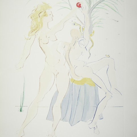 Adam and Eve 1979 Drypoint etching with pochoir coloring Gift of Mr. Nicholas Kronwall