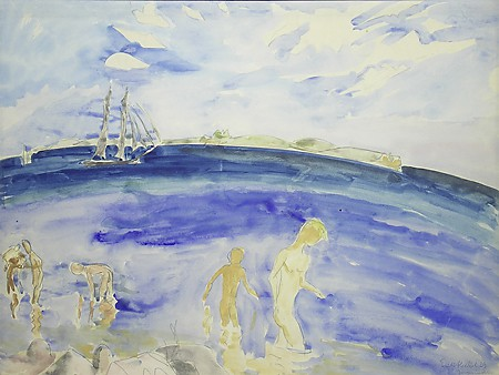 "Erich Heckel, ""Jungen im Wasser (Youth in the Water),"" 1923, Watercolor and pencil on paper, Museum Purchase with funds provided by George Gregson"